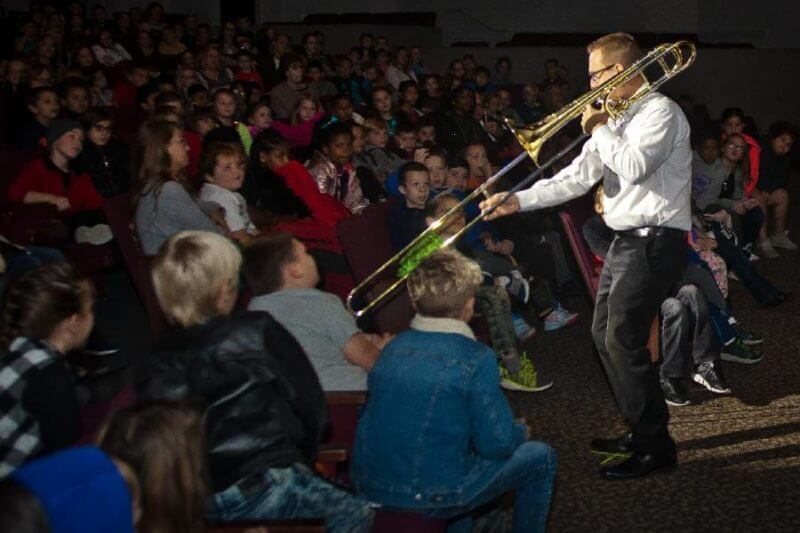 trombone player at childrens concert