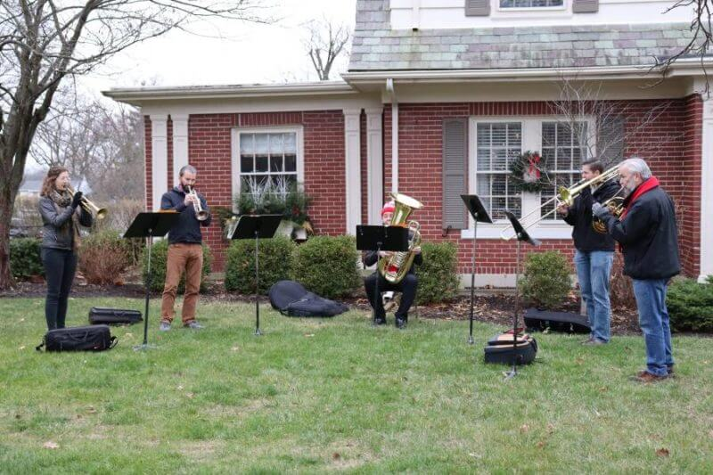 rso brass players outdoors for christmas